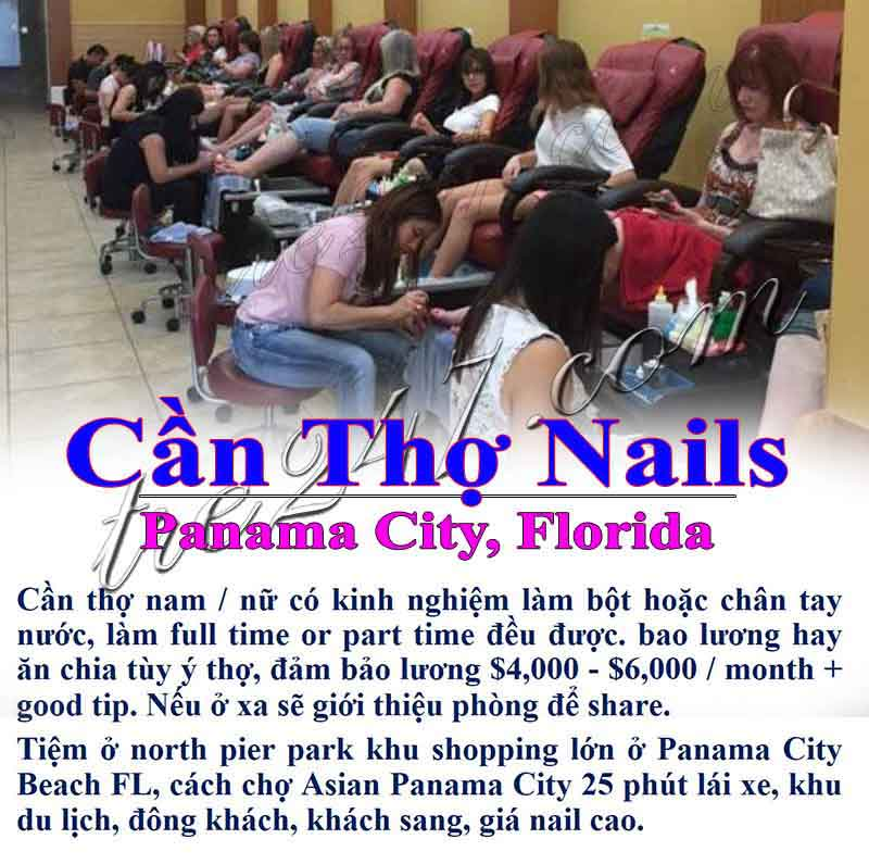 Cần Thợ Nail In Panama City Beach FL Lương $4,000-$6,000/ Mo And Good Tip