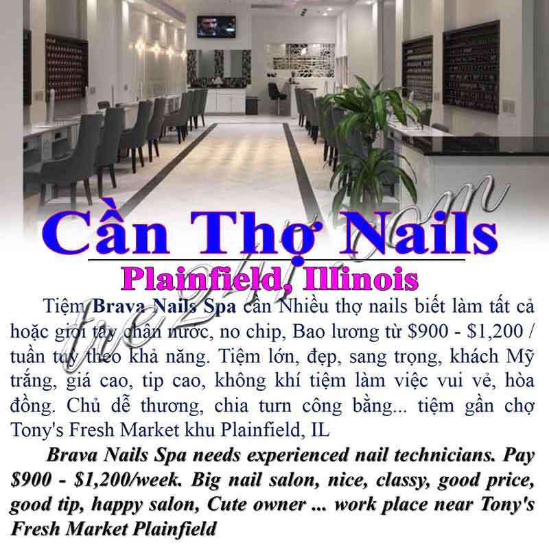Cần Thợ Nails In Plainfield IL Bao Lương $900-$1,200 / Tuần